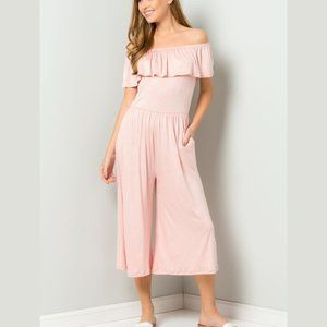 Off the Shoulders Pretty Pink Jumpsuit